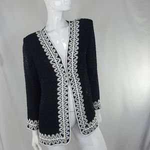 Vintage black and white beaded Long Jacket